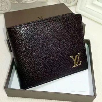 DCCK Louis Vuitton Men Leather Purse Wallet