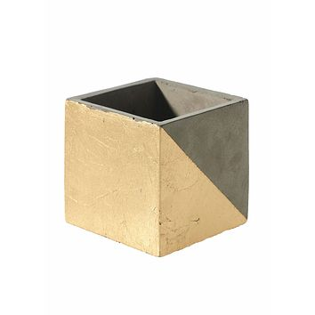 Cement Gray and Gold Square Planter