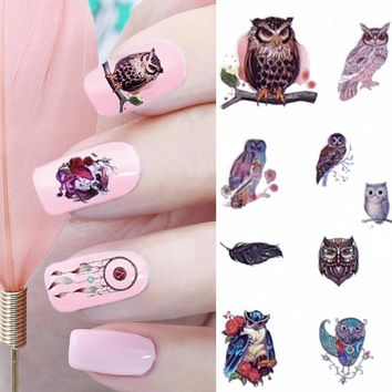 12 Patterns Big Sheet Water Decal Dream Catcher Owl Nail Art Transfer Sticker Manicure Nail Decal  MT25-36