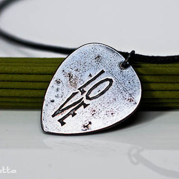 "LOVE - guitar pick necklace - large - ""Classy Pick"" brand - love quotes guitar gifts for boyfriend, son, dad"