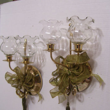 Gold Wall Candle Holders Pair Sconces With Hand Blown Glass Votives Home  Interiors 1980s