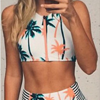 Palm Tree Print Zipper Front Bikini Set