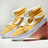 Vans New fashion sports leisure couple high top shoes Yellow