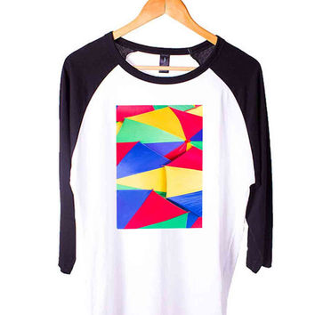 Abstract Umbrellas Short Sleeve Raglan - White Red - White Blue - White Black XS, S, M, L, XL, AND 2XL*AD*