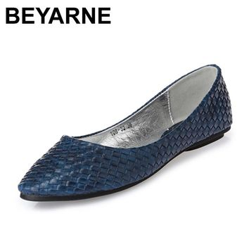 BEYARNE free shipping new arrival women single shoes flat heel moccasins soft bottom spring summer ballet flats women moccasin