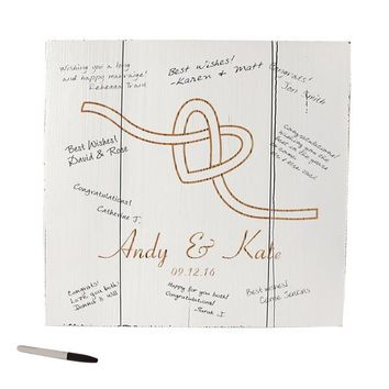 Personalized Tie the Knot Wood Art Guest Book