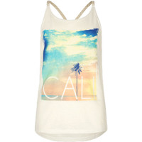 Full Tilt Cali Girls Braid Trim Tank White  In Sizes
