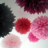 Hearts and Arrows ... 10 tissue paper poms // wedding reception // diy // birthday party // anniversary // diy  // party decorations