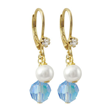 6mm Blue AB Preciosa Bead And 6mm White Glass Pearl, On Gold Plated Surgical Steel With White Crystal Lever Back Earrings
