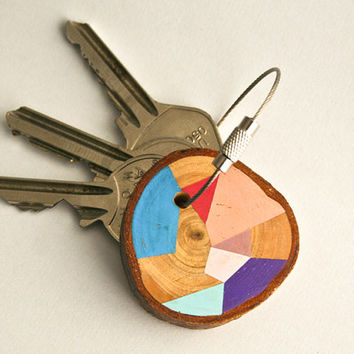 Pine wood keychain with steel cable wire option of initial on other side , pink, baby blue, mint, pastel purple geometric triangle shapes
