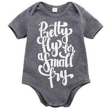 Pretty Fly For a Small Fry Printed Baby Romper