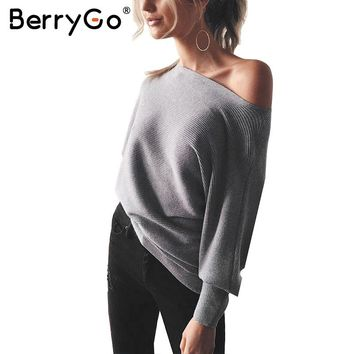BerryGo Bat long sleeve knitted sweater women Off shoulder sexy elastic knitting pullover female Fashion jumper pull knit shirt