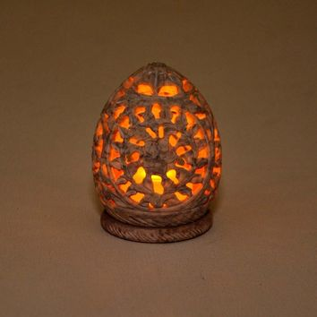 Royal Garden Natural Candle Or Tea Light Holder Hand Carved In Soapstone By Benzara