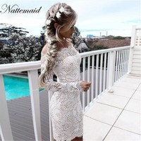 NATTEMAID Autumn Vintage Lace Dresses Off shoulder Slash neck Embroidery Floral dress Long sleeve Elegent Flower Bodycon dress