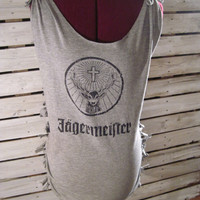 Upcycled Jagermeister T-shirt, Cut and Tied, Size Medium. Very Cool Tshirt!