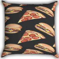 Pizza, hamburger Zippered Pillows  Covers 16x16, 18x18, 20x20 Inches