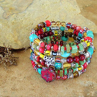 Boho Layered Bracelet, Festive Ethnic Southwest Beaded Jewelry, Colorful Turquoise Bracelet, Handmade Bohemian Jewelry by Kaye Kraus