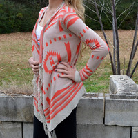 Farmington Coral Frayed Tribal Sweater