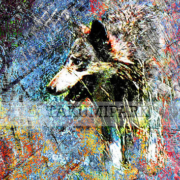 Unique Wolf Art Print, Animal Wall Art Print, Gray Wolf Wall Decor, Colorful Nature Artwork, Wildlife Art, Gray Wolves Artwork, Nature Decor
