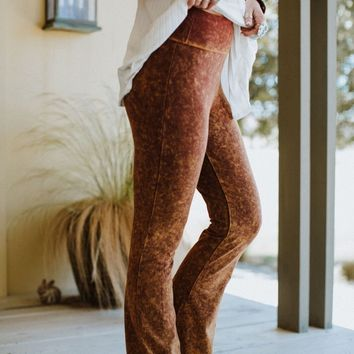 Cher Mineral Wash Flare Pants - Mustard