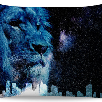 Galactic Watcher 20x30 pillowcase, blue lion at dark sky and town silhouette
