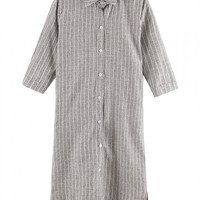 Gray Striped Shirt Dress