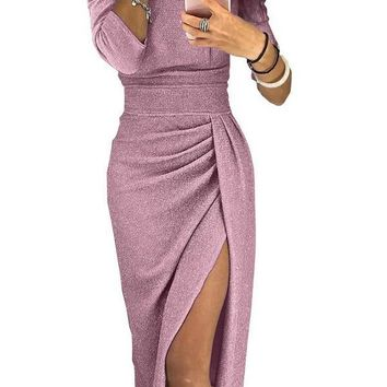 Sexy Off Shoulder Party Dress Women High Slit Peplum Bodycon Dress Autumn Three Quarter Sleeve Bright Silk Shiny Dress DK599BK