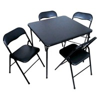 5 Piece Folding Chair and Table Set - Black
