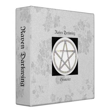 Book of Shadows White Gothic Cherry Blossoms Lg 3 Ring Binder