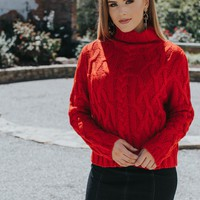 Cable Knit Sweater, Red