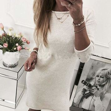 New White 3/4 Sleeve Round Neck Casual Going out Sweet Mini Dress