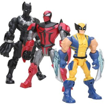 Marvel legends the avengers Jonits Movable robot Captain America Spiderman Wolverine Super Hero thor panther Mashers Figure toy
