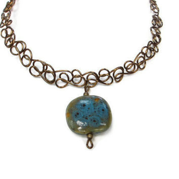 Bronze Turquoise Necklace Wire Art Earthy Jewelry Moss Green Ceramic Pendant