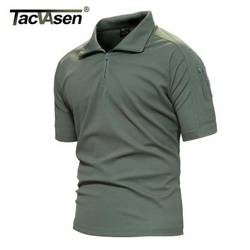 Tacvasen Breathable Summer Military Men T-Shirt Army Combat Men T Shirt New Brand Turn-Down Collar Top Men TD-YCXL-016
