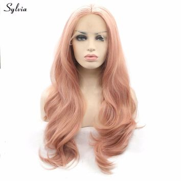 Rose Gold Color Hair Nature Wave Synthetic Lace Front Wigs