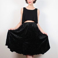 Vintage 90s Skirt Black Crushed Velvet Skirt 1990s Gypsy Soft Goth Midi Skirt Knee Length Boho Bohemian Soft Grunge Skirt S M Medium L Large