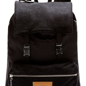 i Black Wool Panel Backpack