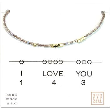 Friendship Bracelet - I Love You 143  - fawn sparkle