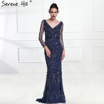 Luxury Pink Navy Blue Beading Mermaid Tulle Evening Dress V-Neck Long Sleeves Elegant Evening Gowns 2018 Real Photo LA6010