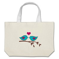 Love Birds on green Canvas Bag