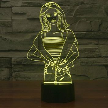 Lady with Scarf 3D LED Night Light Lamp