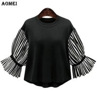 Loose Fit Spring Blouse Shirts for Women Black White Striped Vintage Tops Casual Summer Office Lady Work Wear Blouses Clothes
