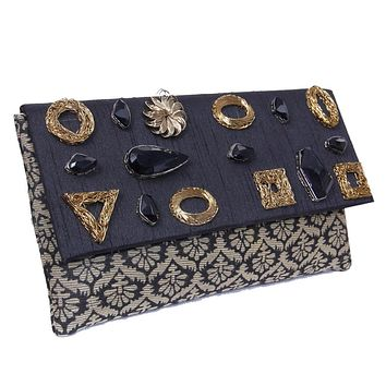 Traditional Geometric Design Party Handbag With Black Beads and brocade Work