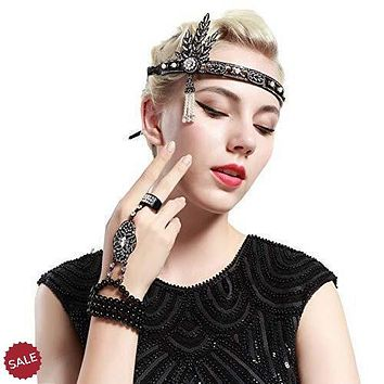 1920s Flapper Headband and Gatsby Bracelet Adjustable Ring Set
