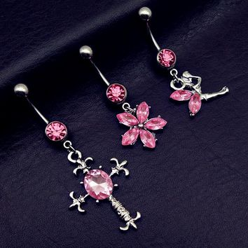 3pcs 2017 new arrivals pink cross flower angel mix style navel belly bar button rings body piercing jewelry free shipping