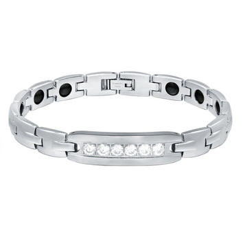 Stainless Steel W. Cubic Zirconia and Hematite Magnetic Therapy Bracelet