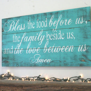 Bless The Food Pallet Sign Kitchen Sign Dining Room Sign Wedding Gift Bridal Shower Gift Housewarming Gift Turquoise Distressed Wall Art