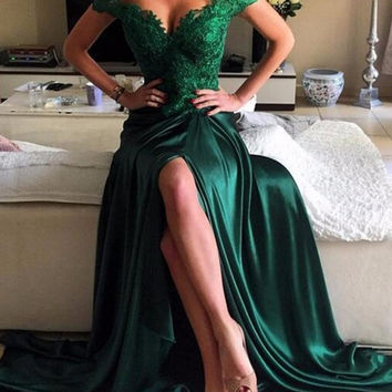 Off Shoulder Green Satin Long Prom Dresses