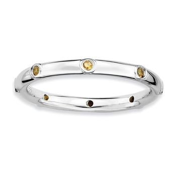 Sterling Silver Stackable Citrine Accent 2.25mm Band