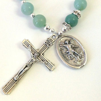 Saint Michael Rosary, Amazonite Beads, Catholic Rosary Beads, Green Prayer Beads, Single Decade Rosary, Catholic Chaplet